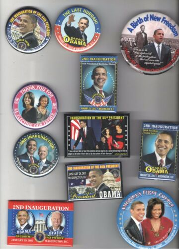11 2009 & 2013 pin OBAMA BIDEN pinback INAUGURATION