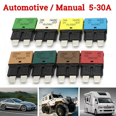 5-30A Circuit Breaker Blade Fuse Resettable Auto Manual Car Marine Rally 12V 24V