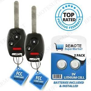 2 For 2006 2007 2008 2009 2010 Honda Civic EX Remote Key Fob Uncut Shell Case