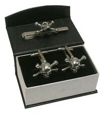 Skull and Crossbones Cufflinks Gift Boxed N128 pirate flag sign crossed bone NEW