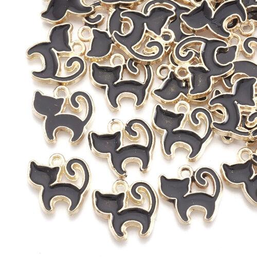 10pcs Black Alloy Enamel Charms Cat Dangle Pendants Jewelry Craft Making 12x12mm