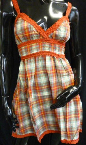 Womens Ladies New Elasticated Checked Frill Dress 3 Colours Sizes 8-14