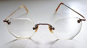 Vintage-1920s-British-American-Optical-Rimless-Eyeglasses-Gold-Filled-BAO