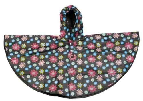 Bambini Poncho Impermeabile Ripiegare Emergenza Pioggia Cappotto Età 4-6 NERO FIORI