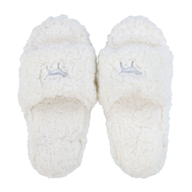 1a32359d2528 Victoria s Secret Pink Soft Sherpa Fuzzy Dog Logo Slide on Slippers ...