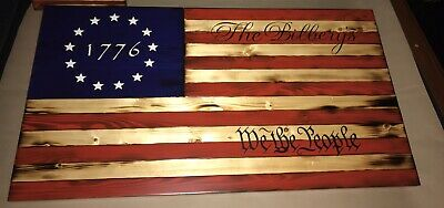 "US Flag American Flag American Wooden Flag 30"" Rustic Flag"
