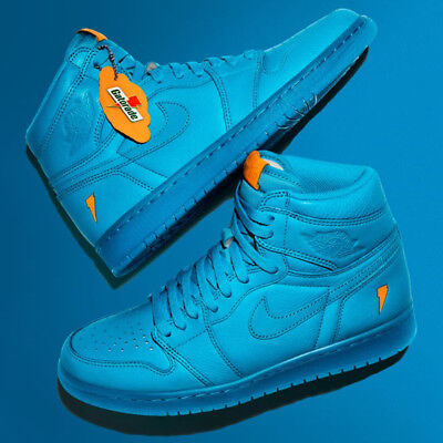 45d8464f2a6 Nike Air Jordan Retro 1 HI OG Gatorade Blue Lagoon HIGH AJ5997-455 Mens 14