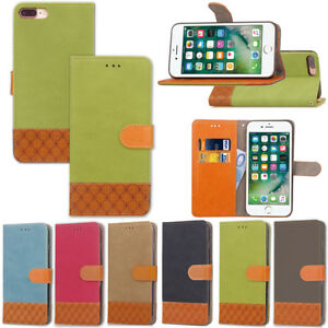 COQUE-ETUI-HOUSSE-PORTEFEUILLE-LUXE-TISSU-CUIR-NEUF-POUR-IPHONE-5-SE-6-7-8-Xs-Xr