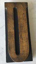Vintage Letterpress Printer Block Antique Wood Letter U 5 14 Great Patina