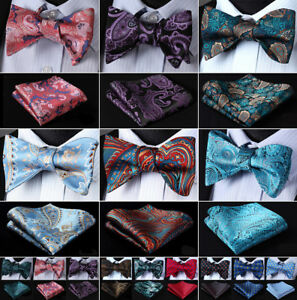 Men-039-s-Silk-Self-Bow-Tie-Pocket-Square-Set-Classic-Paisley-Bow-Tie-Wedding-J04