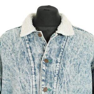 Dettagli su VINTAGE Sherpa Foderato in Pile Giacca di Jeans | S | Biker Da Uomo Jeans Cappotto di acido Retrò mostra il titolo originale