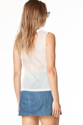 Sleeveless Mesh Vest Blue Coral Black White Zipper Sheer Jacket Coat Top Net