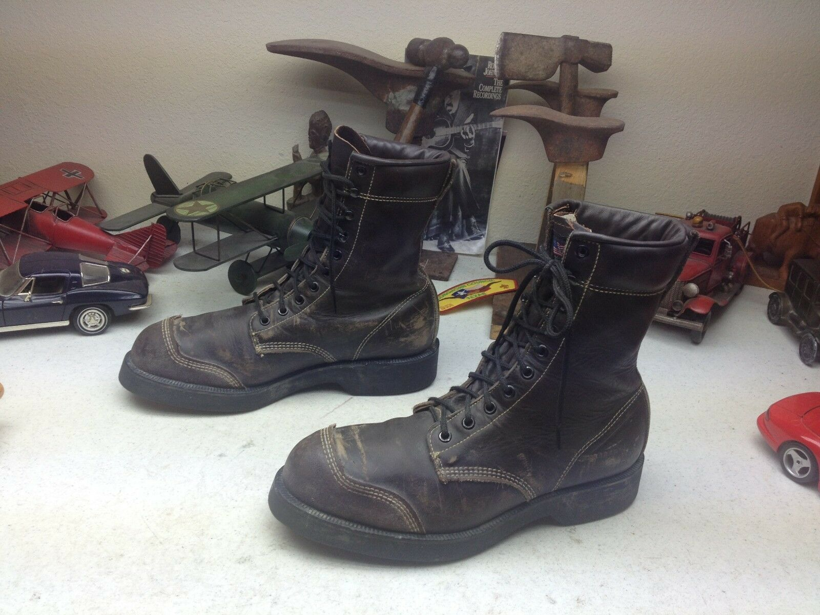 DISTRESSED AFL-CIO USA BROWN LEATHER STEEL TOE LACE UP ENGINEER BOSS BOOTS 9 D
