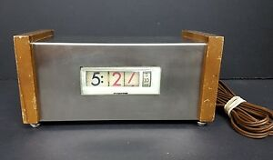 Vintage Mid-Century 1961 Numechron Tymeter Stainless and Wood Clock Model 920