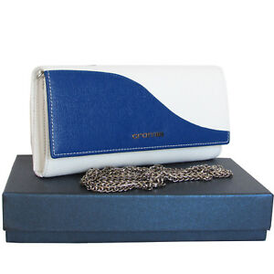 fedb5e2b80464 CROMIA Made in Italy women s blue and white leather wallet purse ...