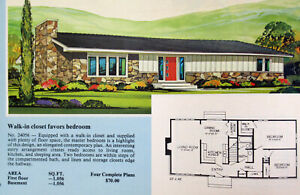 Vintage 1970s Mid Century Modern Ranch houses home floor ...