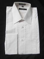 100% Cotton White Mens Large Laydown Collar Tuxedo Shirt Mason Knights
