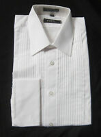100% Cotton White Mens Large Laydown Collar Tuxedo Shirt Mason Knights