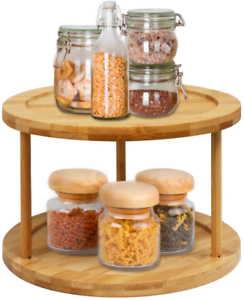 lazy susan turntable spice rack - 10 inch 2-tier bamboo