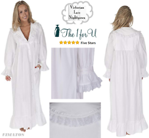 The 1 for U Amelia Women's Petites Size 100% Cotton Victorian Nightgown,S,White