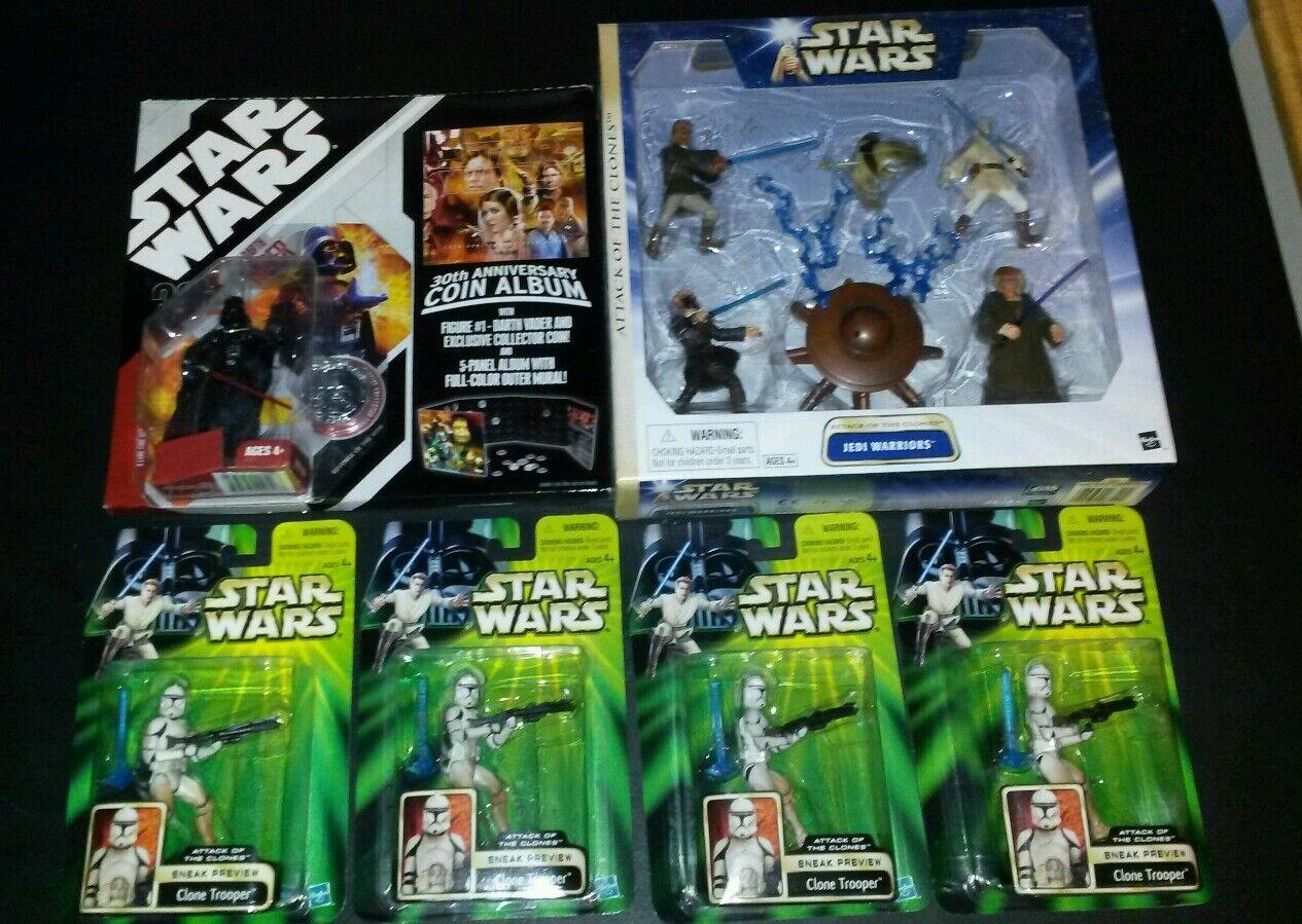 6 LOT COIN ALBUM DARTH VADER Jedi Warriors Deluxe Star Wars 30th anniversary