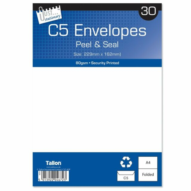 Tallon Just Stationery C5 Peel & Seal Envelopes - White (Pack of 30)
