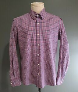 Boss-Hugo-Boss-Gingham-Check-Long-Sleeve-Button-Up-Shirt-Men-039-s-Size-15-5-34-35