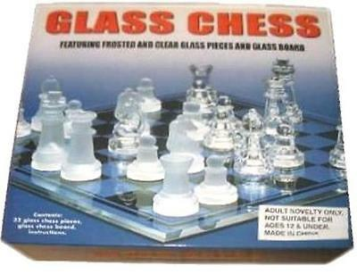 GLASS CHESS SETS 8 IN X 8 IN W CHESSMEN board game NEW playing set