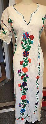 Vintage 70's Mexican Embroidered Wedding Dress Crochet Sz small/Medium