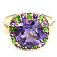 Silver 925 Rose Gold Plated Amethyst and Chrome Diopside Ring Size S (US 9.25)