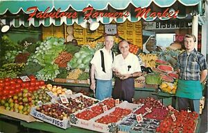 Chrome-Postcard-CA-E193-Farmers-Market-Three-Men-Fruit-Vegetables-Los-Angeles