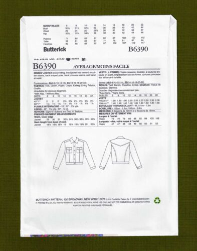 Butterick 6390 Sizes 14-22 Misses Classic Denim Jacket Sewing Pattern