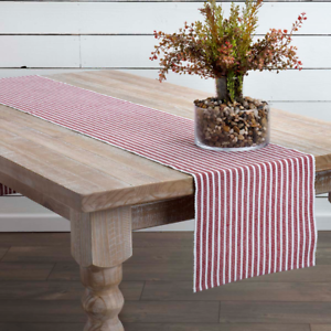HARMONY-Red-amp-White-Stripe-13-034-x-72-034-Cotton-Rib-Weave-Table-Runner