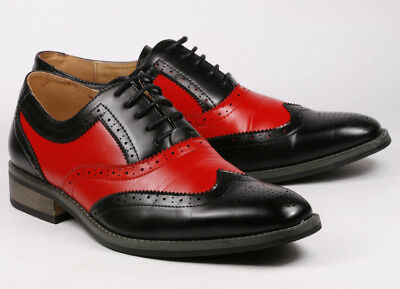 """Black Red Men/'s Wing Tip Lace Up Oxford Dress Shoes /""""PREOWNED/"""""""