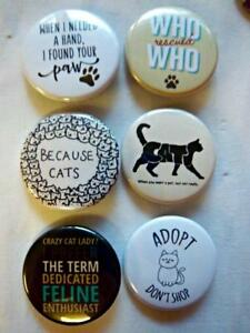 1-5-034-CAT-LOVER-Set-1-6-pk-Novelty-Buttons-Pins-For-backpacks-Jackets-amp-More