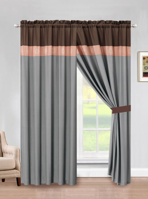 4-Pc Floral Vine Scroll Embroidery Curtain Set Coffee Brown Drape Valance Liner