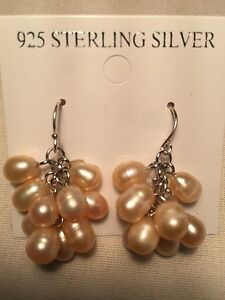 Vintage-Handmade-Argent-Sterling-925-Veritables-Pink-Pearl-Dangle-Earrings