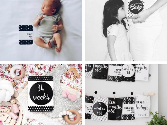 Milestone Card Bundle Set - Pregnancy & Baby Milestone Cards - Monochrome