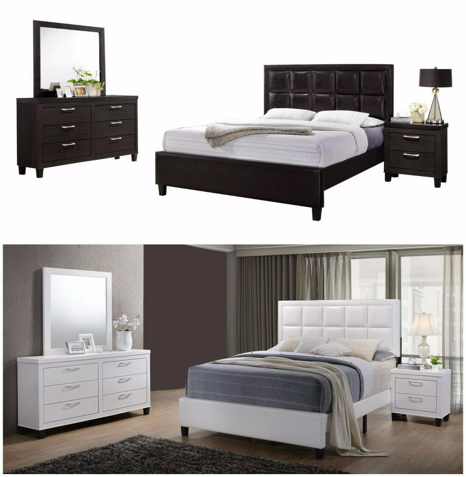 NEW 4Pc Wood with Faux Leather Bedroom Set, Queen  Bed+Nightstand+Mirror+Dresser