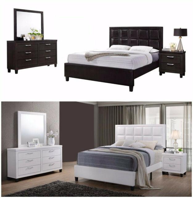 4pc Cherry Bedroom Set Queen Size Bed Mirror Dresser Nightstand