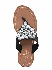 Kate Spade Black Cora Sandals Flip Flop Flat Thong Gem Sandals