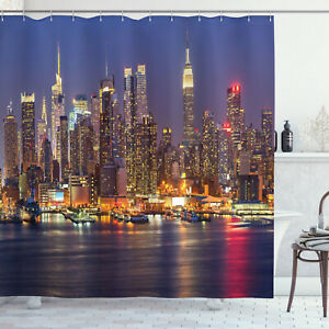 Details about  /New York Shower Curtain Sunset Evening View Print for Bathroom