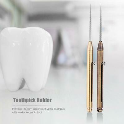 Titanium Alloy Outdoor Push-Pull Spring Design Toothpick Best Good Holder S2.