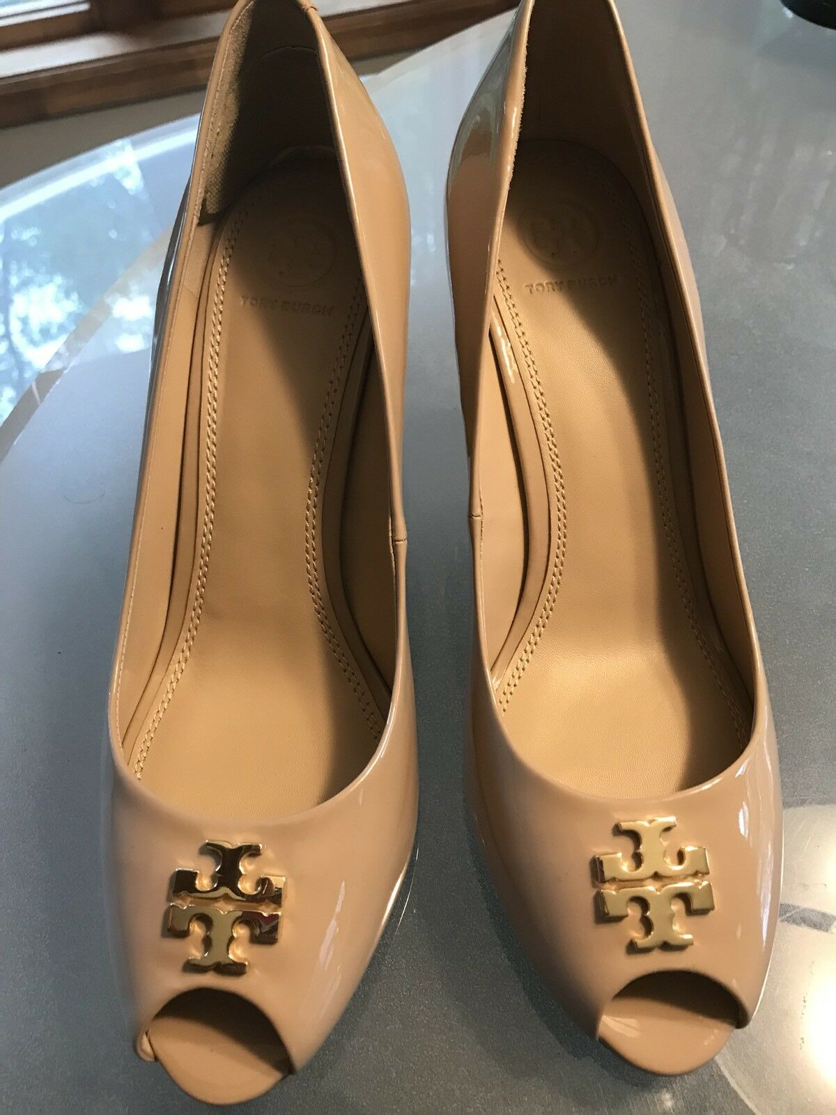 Tory Burch Jade Peep Toe Wedge Burnt Almond 11M 11M 11M msrp  285 8f97e1