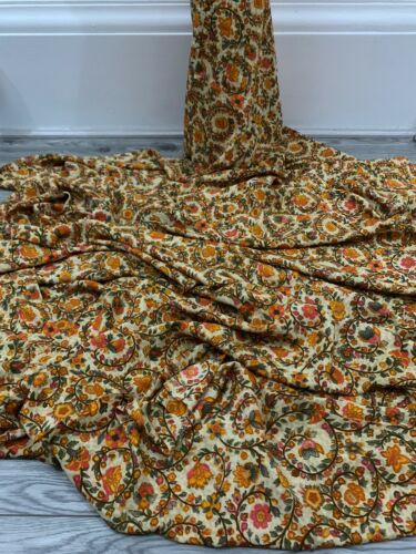 Beige Orange Green Floral American Crepe Fabric 45/'/' PRICE PER METER