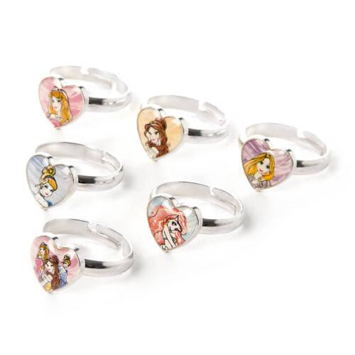 Disney Princess Sketch Drawings Rings Set of 6 Cinderella Belle Ariel Aurora NWT