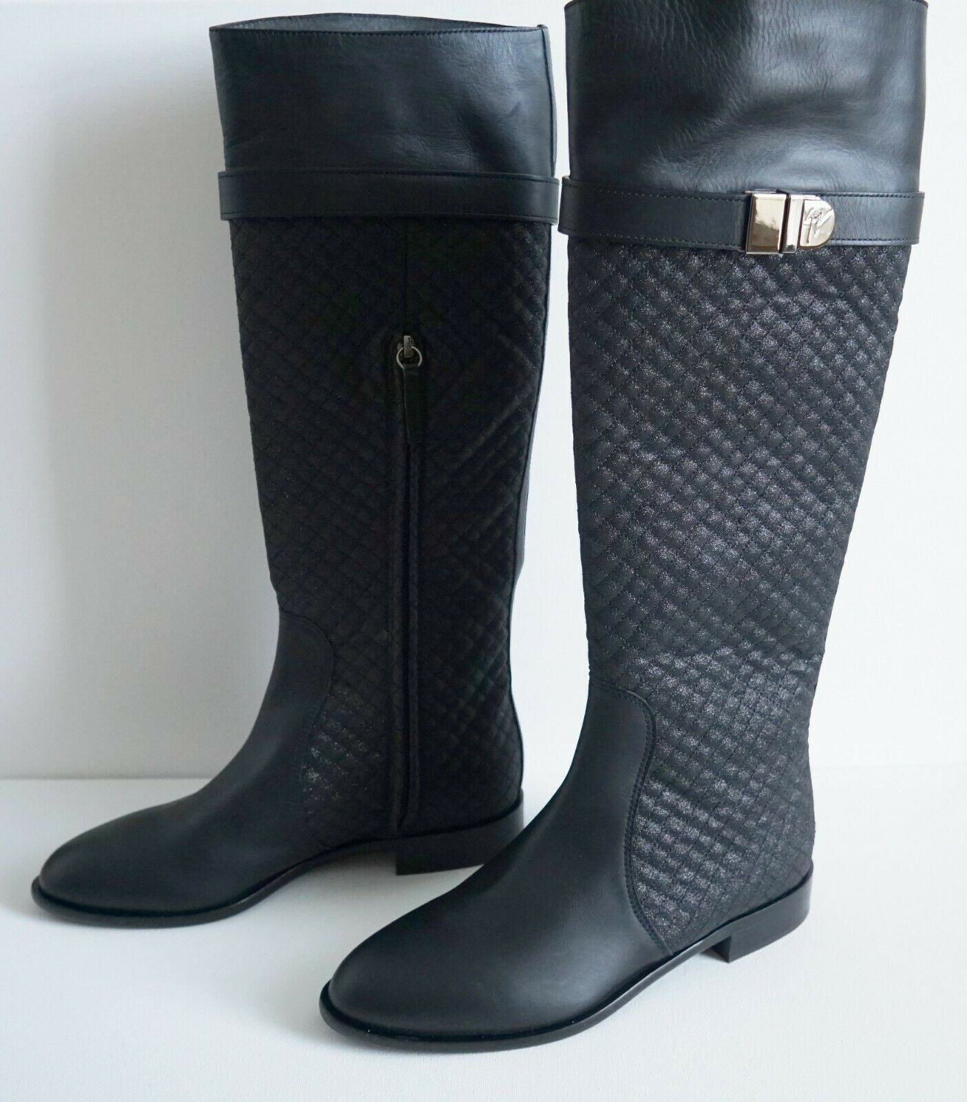 1395 GIUSEPPE ZANOTTI Black QUILTED MOTO RIDING Style Tall Boots EU-38 US-8