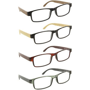 ea1720fb166 Image is loading 4-PACK-Spring-Hinge-Wood-Design-Reading-Glasses-