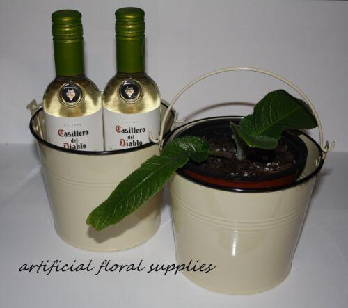 Cubo De Hielo refrigerador de vino Shabby Chic Ideal Regalo Gran Crema Metal Maceta Olla