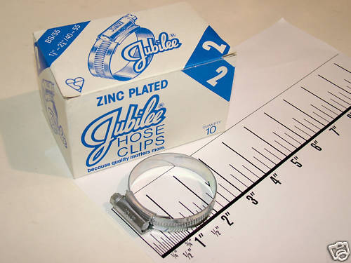 Jubilee zinc plated steel hose clip clamp new NOS 100pc